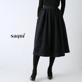 **【19AWコレクション】saqui〔サキ〕19AW13tweed gathered skirt/ツイードギャザースカート(NAVY)【P2】