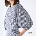 **【20SSコレクション】saqui〔サキ〕20SS09vichy big sleeve blouse/コットンシルクギンガムチェックボリュームスリーブブラウス【P2】