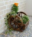 激安!車輪の形をしたおしゃれなプランター 天然木製でアンティーク風、玄関やお庭などのアクセントに最適です 雑貨…