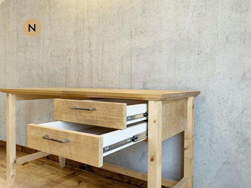 デスク木製デスクパソコンデスク引き出し机勉強机学習机ワークデスク無垢天然木木製おしゃれ日本製ナチュラル北欧デザインテレワークシンプル作業台幅150cm一人暮らし子供部屋奥行50cmミシン台ネイルデスク