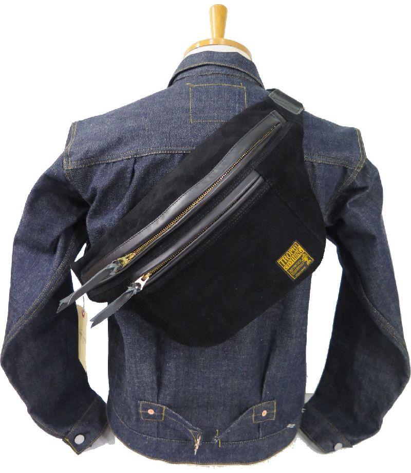 【トロフィークロージング】 スウェードレザー デイトリップバッグ 黒/ブラック TROPHY CLOTHING Day Trip Bag Suede TR-B01SU 日本製【送料無料】