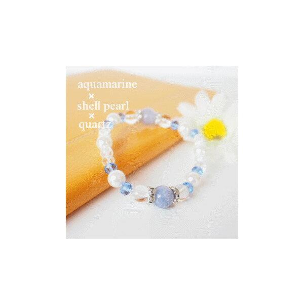 アクアマリン&シェルパール天然石ブレスレット メム