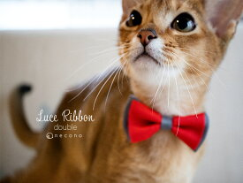 【送料無料】 necono 猫 首輪 『 Luce Ribbon double 』 リボン ダブル おしゃれ 期間限定 安全 赤 ピンク 全12色 日本製 猫用品