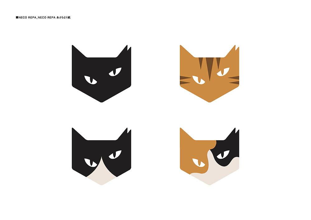 """NECOREPA 高級あぶらとり紙 4枚セット """"柄"""" 猫 オイルコントロールペーパー"""