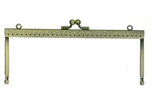 浮足縫い付けがま口口金 1本入 型紙付 アンティークゴールド BK-1971 (メール便可) 入園入学準 ステイホーム おうち時間 手芸男子