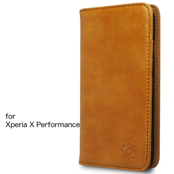 Xperia X Performance エクスペリア ケースカバー 手帳型 本革 レザー 財布型 カードポケット スタンド機能 マグネット式 docomo SO-04H au SOV33 softbank 502SO 対応 Xperia X Performance, キャメル