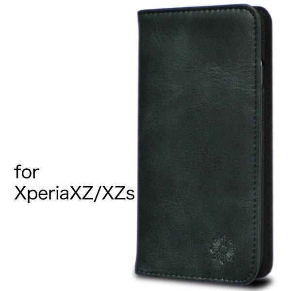 Xperia XZ XZs エクスペリア ケース カバー 手帳型 本革 レザー 財布型 カード ポケット スタンド機能 マグネット式 ハンドメイド docomo SO-01J SO-03J au SOV34 SOV35 softbank 601SO 602SO 対応 ブラック