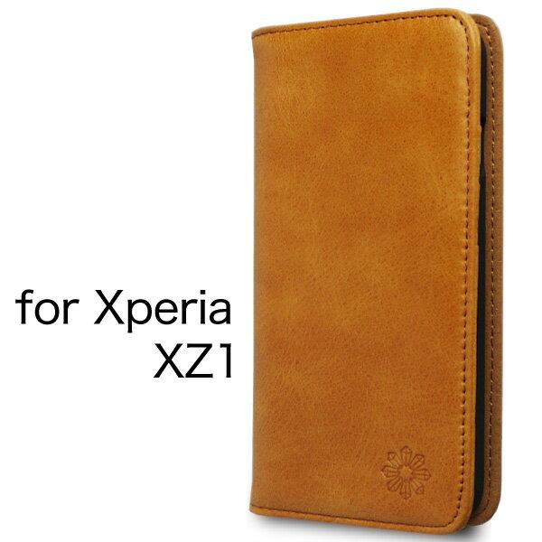 Xperia XZ1 エクスペリア ケース カバー 手帳型 本革 レザー 財布型 カード ポケット スタンド機能 マグネット式 ハンドメイド docomo SO-01K au SOV36 softbank 701SO 対応 キャメル