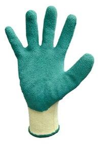 ゴムリキ【 M ・ L 】 ゴム手袋【 手のひら :緑 / 手の甲 : 黄 】強力ポリエステル+ゴムコーティング【5双入】【富士手袋工業】