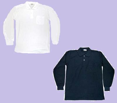 ポロシャツ胸ポケット付♪4色長袖シャツNo.4218