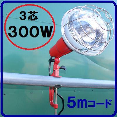 投光器300W【5Mコード付】3芯(2芯変換プラグ付)【1台】