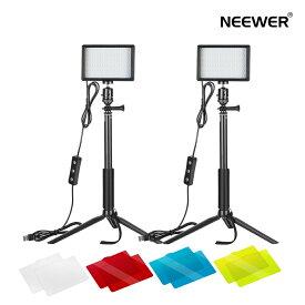 Neewer 2パック USBビデオライト LEDビデオライト 5600K 調光可能 調節可能な三脚スタンド カラーフィルター付き 卓上とローアングル撮影 ズームとビデオ会議照明、ゲーム実況、YouTubeビデオ写真に適用
