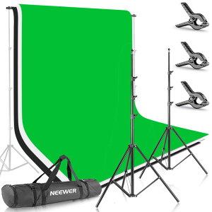 【3色シートでお買い得!】Neewer 2.6 x 3M背景スタンド 1.8 x 2.8M3色背景付き クロマキー 肖像画 /製品写真/ビデオ撮影/リモートワーク/リモート会議/テレワークなどにに対応