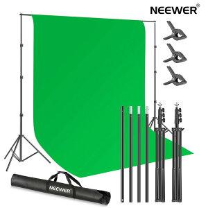 Neewer 2.6x3M スタジオ用グリーンスクリーン背景スタンドキット 写真背景サポートシステム 3x3.6Mポリエステルクロマキーグリーン背景と3つの背景クランプ付き 写真ビデオ撮影用