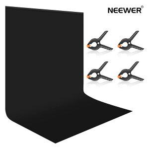 Neewer 3x3.6m 黒の背景スクリーン 折りたたみ式 ポリエステルの背景 背景スクリーン 4つのスプリングクランプ付き スタジオ撮影、自撮りビデオ、ライブビデオ録画、テレビインタビュー用