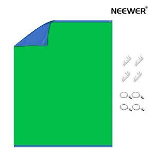 Neewer 2色背景布 2-in-1クロマキー緑/青スクリーンカーテン背景布 4つフックと4つクリップ付属 ビデオ/写真/ゲーム/ストリーミングに対応 1.5x2 M両面バックグラウンド ポリエステル繊維