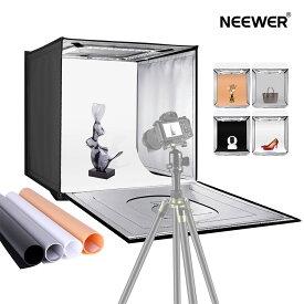 Neewer 写真スタジオライトボックス 50cm撮影ライトテント 明るさ調整可能 折りたたみ式 ポータブル 卓上写真照明キット 80LEDライト 4色背景