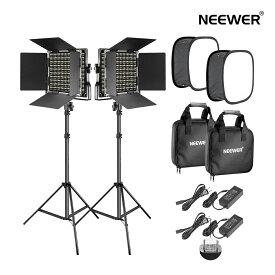 Neewer 2パック 調光可能な二色660 LEDビデオライト照明キット Uブラケットとバーンドア付きの3200K-5600K CRI 96+ LEDパネル、ライトスタンド ソフトボックスディフューザー YouTubeスタジオ撮影とビデオ撮影用