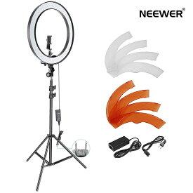 Neewer 18インチ調光可能なSMD LEDリングライト照明キット ライトスタンド、スマートフォンホルダー、ホットシューアダプター付き 肖像画、YouTubeビデオ撮影用