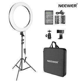 Neewer 20インチLEDリングライトキット:(1)44W調光可能な二色サークルライト(1)ライトスタンド(1)ボールヘッド(1)スマホホルダー(2)バッテリー(1)USB充電器 肖像撮影、ビデオ撮影、メイク、自撮り撮影に対応