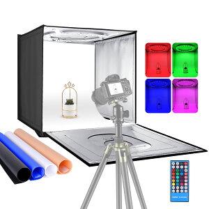 Neewer 写真スタジオRGBWライトボックス 赤外線リモコン付き 折りたたみ式 卓上撮影用テント 24インチ/60cm 96 RGBW LED/調整可能な2-20W/6000K-6500K/4色の背景