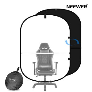 Neewer 最新版ウェブカメラ背景布 クロマキー合成 2-in-1 150×200cm 黒/白シート 一枚両色 椅子に取り付け 伸縮可能 在宅勤務 ビデオ会議 リモートワーク テレワーク ズームコール 写真撮影用