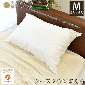 昭和西川 グースダウン枕 2層式 ラグジュアリー 羽毛まくら 日本製 43×63cm 敬老の日ギフト ポリジン加工 抗菌 あす楽対応