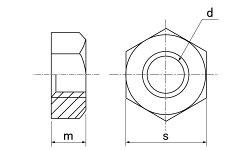 アルミ/生地六角ナット[1種]M5【バラ売り:10個入り】
