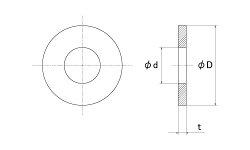 ステンレス/SSブラック丸ワッシャー[JIS]M6用6.5×13×1.0【バラ売り:10個入り】