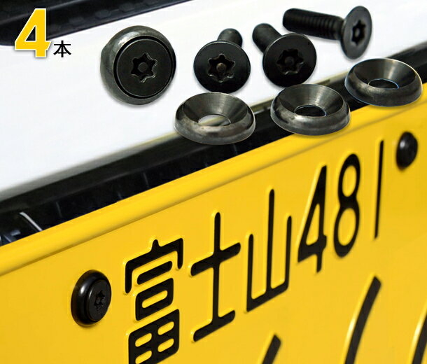 ナンバープレート用ボルト ピン・トルクスサラステンレス(ブラック) 4本 [ボルト・ワッシャーのみ]