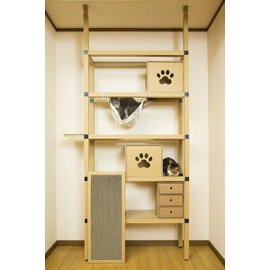 (キャットタワー)ニャンダフルシェルフ mini / 猫用 突っ張り棒型キャットタワー ECO おしゃれデザイン 日本製 強化ダンボール