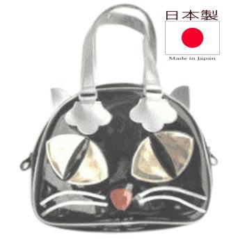 ネコグッズ 猫鞄 黒猫 猫顔 ミニ バッグ ボストンバッグ レディース メンズ エナメル アニマル プレゼント