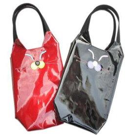 スマイルキャット 小さめ 手提げバッグ かわいい|メンズ レディース ペットボトル 水筒 カバー ホルダー ケース 500ml ねこ ネコ 猫 柄 グッズ 雑貨 小物 プレゼント バッグ ビニール コーティング トートバッグ 黒/赤|【送料無料市場】