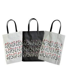 【ポイント10倍】薔薇と猫 猫柄 バッグ A4 エコバッグ 猫グッズ 猫 雑貨 プレゼント 猫好き ビニールコーティング トートバッグ
