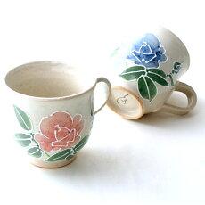 九谷焼マグカップ『金沢のバラ』赤