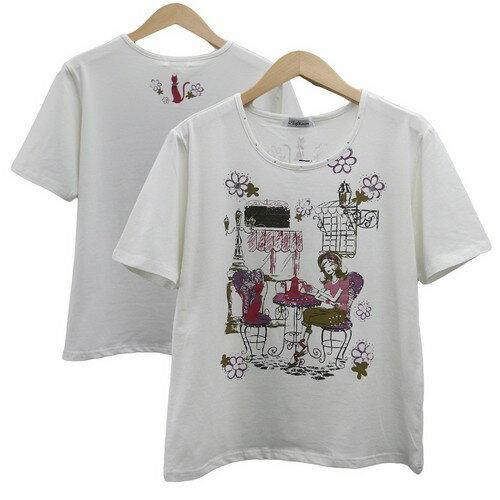 (^O^)/猫の手!!特価 ゆったり大きいサイズ LL ☆ねこちゃんプリント・シルキー・Tシャツ☆ 人気のパープル *メール便 送料無料 (お買い得品)