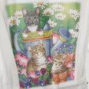 ☆彡ネコchanねこ・猫プリント・Tシャツ☆ かわいい3匹のなかよし猫とマーガレットのお花・ホワイト *,.,.*数量限定販売です!!送料込…