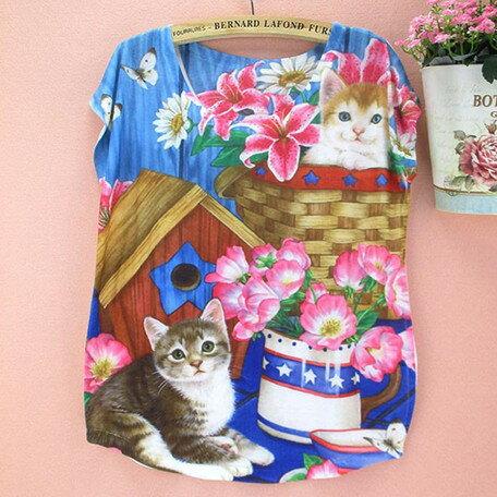 ~~☆~~超・レアキャット・ピンクのお花が大好きにゃんこ 2匹とモンシロチョウ *,.,.猫柄新作につき 数量限定入荷,.,.