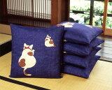綿つむぎ座布団カバー猫と鈴(5枚組)