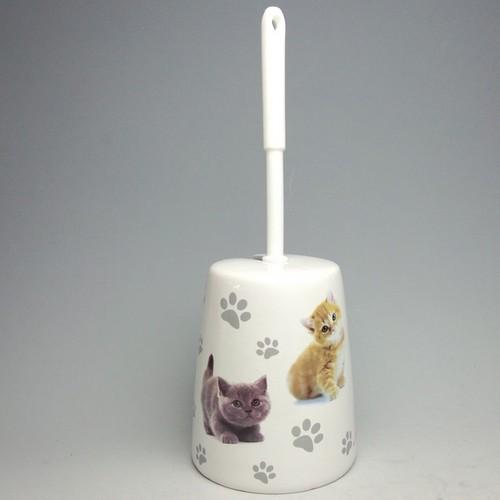 ☆彡ブリティッシュショートヘアーとなかよし猫・陶器 サニタリー・ブラシ 2点セット 特価品