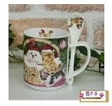 (^O^)/なかよしヨークシャテリアと白猫・トラにゃ!!★,.,.,.,.猫好きさんへのプレゼントに♪*スプーン付【ギフトマグカップ】ネコ