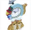 ☆新作!!猫・ふり~~ふり~~今何時だニャ〜♪(=^・・^=)、人気シリーズのNO'1-187☆~~テーブル時計~~★なかよし茶猫・ニャンコ *ネズミ君…