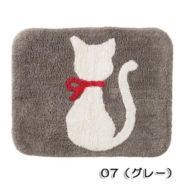 ☆大人気NO,!★ネコ(猫)の後ろ姿が愛らしい♪ミニマット  グレー 【猫柄マット】
