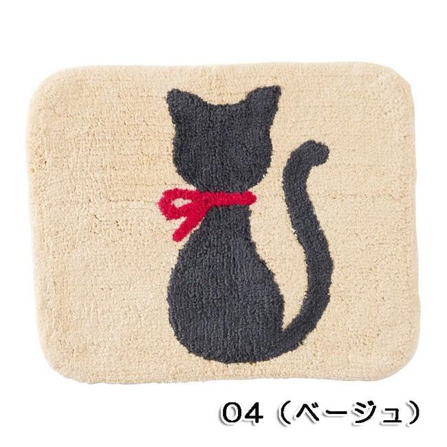 ★大人気!!★ネコ(猫)の後ろ姿が愛らしい♪ミニマット  ベージュ 【猫柄マット】