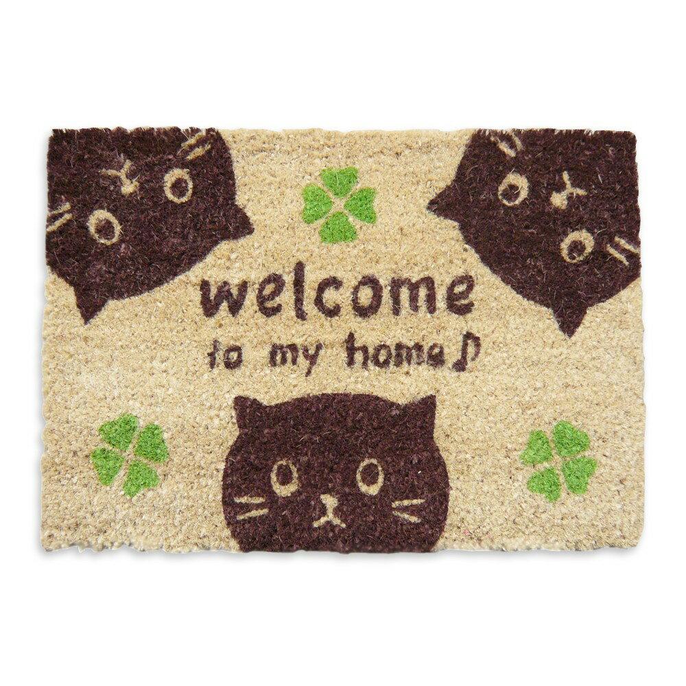 (^O^)/かわいい・3匹の黒猫さんとクローバー♪35X50(ココヤシマット) コイヤーマット・ミニサイズ *お買い得品・送料込み*