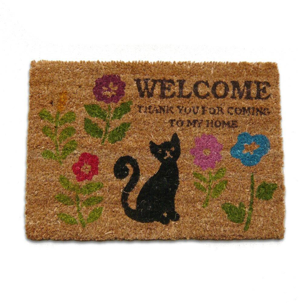(^O^)/かわいい黒猫さんとお花♪35X50(ココヤシマット) コイヤーマット・ミニサイズ *お買い得品・