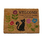 (^O^)/かわいい黒猫さんとお花♪35X50(ココヤシマット)コイヤーマット・ミニサイズ