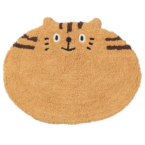 ☆大人気NO,!★ネコ(猫)の♪バス・ミニフロアーマット  茶猫トラ 顔猫 【猫柄マット】