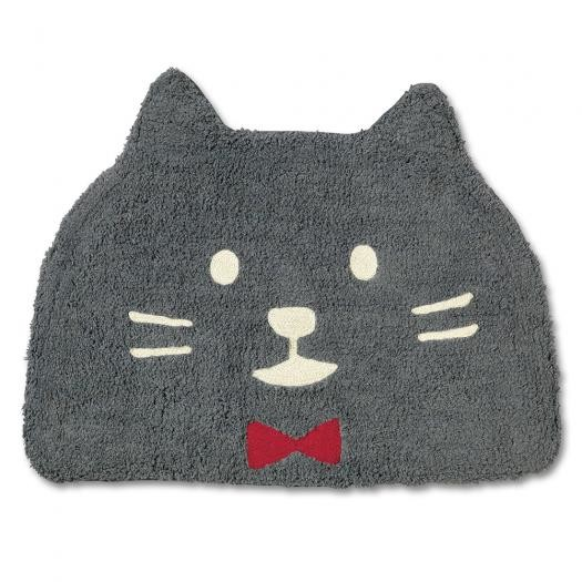 ☆大人気NO,!★ネコ(猫)の♪バス・ミニフロアーマット  グレイッシュ・ブラック 赤リボン 顔猫