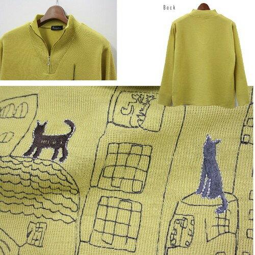 (^O^)/猫の手!!黒猫さんのお散歩 !!☆~~ジップ・アップ・ハイネック~~☆ 幅広い年代に使って頂けるセーター 抹茶カラー